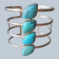 Jay King Desert Rose Trading Turquoise Sterling Silver Cuff Bracelet