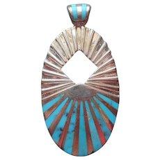 Jay King Desert Rose Trading Pendant Sterling Silver Turquoise