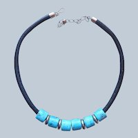 Jay King Desert Rose Trading Turquoise Sterling Silver Leather Necklace