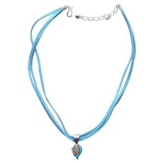 Jay King Sterling Silver Turquoise Yellow Opal Necklace Suede Leather