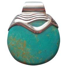 Jay King Turquoise Sterling Silver Pendant Slide Desert Rose Trading