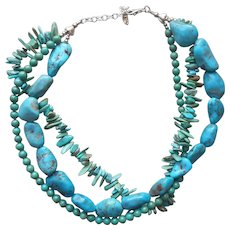 Barse Turquoise Sterling Silver 3 Strand Necklace