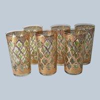 Culver Valencia 6 Tumblers Highball Glasses Vintage Barware