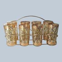 Culver Valencia 8 Tumblers Highball Glasses In Rack Vintage Barware