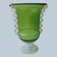 Italian Green Glass Large Vase Clear Rigaree Decoration Vintage