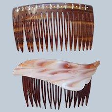 ca 1980 Hair Combs Lucite Plastic Vintage Rhinestones France USA