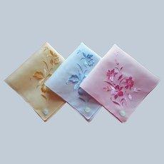3 Unused Pastel Hankies Handkerchiefs Desco Cotton Embroidered Orchids