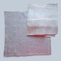 Monogram L Set 6 Madeira Linen Hankies Handkerchiefs Unused Vintage