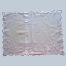 Baby Pillow Sham Vintage Hand Embroidered White Pink A Bit TLC