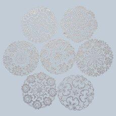 8 Lace Dessert Tea Plate Doilies Vintage Cotton Chemical Lace Vintage 7 Inch