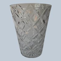 Large Cut Glass Vase Wide Mouth For Large Stems Vintage