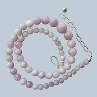 Jay King Kunzite Faceted Beads Necklace Sterling Silver Graduated Desert Rose Trading