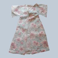 1910s Baby Doll Sacque Kimono Printed Cotton Fabric Aqua Pink Antique