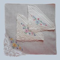 1920s Unused Hankies Handkerchiefs Hankie Set 3 Embroidery Lace Vintage