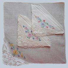 1920s Unused Hankies Handkerchiefs Hankie Set 3 Embroidery Lace Vintage