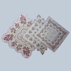 Unused Vintage Hankies Hankie Purple Floral Print Cotton