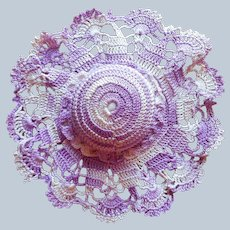 Pincushion Hat Shape Crocheted Lace Vintage Purple Variegated