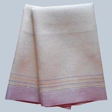 1920s Unused Linen Hand Towels Pair Belgium Purple Borders Vintage