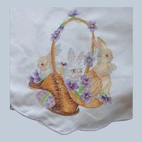 Easter Embroidery Tablecloth Vintage 1980s Cotton Purple 102 x 70