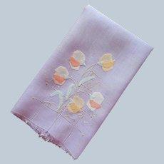 1920s Guest Towel Purple Linen Appliqued Sweet Peas Vintage