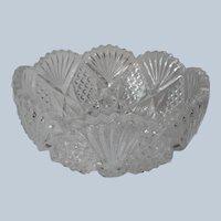 Pressed Glass Relish Bowl Fan File Jewel Motifs Vintage To Antique