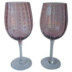 Purple Bowl White Dots Blown Glass 2 Large Wine Glasses