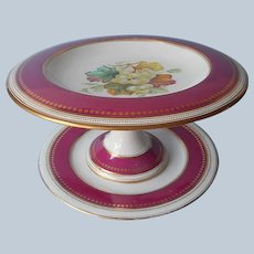 Mid Victorian Compote Plate Violet Rose Rims Hand Painted Porcelain Antique