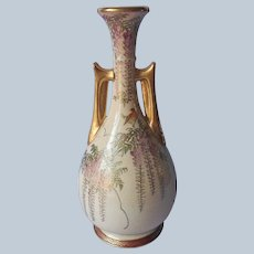Satsuma Vase Taisho Period Japan Antique Purple Wisteria Pointed Handles