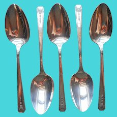 Milady 1940 Table Spoons 5 Vintage Silver Plated For Serving