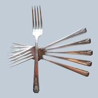 Milady 1940 Dinner Forks 6 Vintage Silver Plated