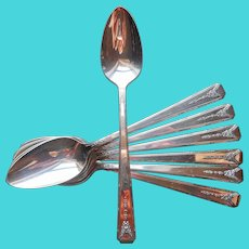 Milady 1940 Teaspoons 7 Vintage Silver Plated Excellent Condition
