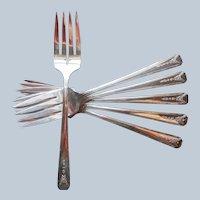 Milady 1940 Salad Forks 6 Vintage Silver Plated
