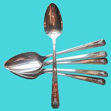 Milady 1940 Soup Spoons 6 Vintage Silver Plated Oval Bowl