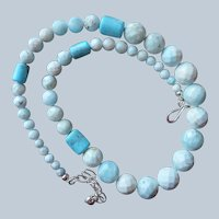 Jay King Turquoise Aragonite Beads Necklace Sterling Silver Desert Rose Trading