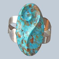 Jay King Boulder Turquoise Sterling Silver Cuff Bracelet Desert Rose Trading