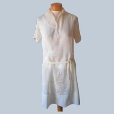 Early 1920s Dress Pale Yellow Cotton Voile Embroidered Vintage