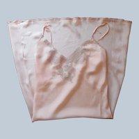 1930s Peach Silk Bias Cut Slip Ecru Lace Vintage NRA Label