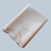 Madeira Guest Towel Unused Vintage 1930s Peach Yellow Butterfly