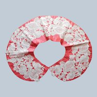 ca 1900 Cotton Chemical Lace On Coral Silk Dress Collar Antique Iris