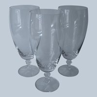 3 Fine Iced Tea Glasses Footed Goblets Crustal 18 Ounce