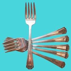 6 Simple Salad Dessert Forks Silver Plated Shabby Vintage National