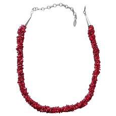Running Bear Red Coral Sterling Silver Necklace 3 Strands Adjusts 16 to 19 Inches