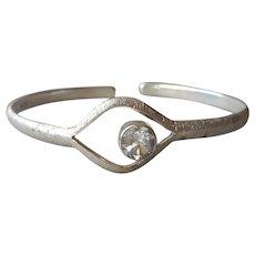 Deb Guyot Sterling Silver Bracelet Herkimer Diamond Quartz Cuff