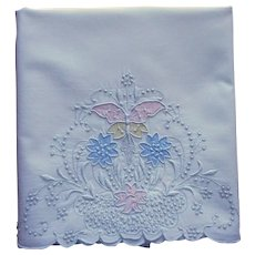 Single Madeira Pillowcase Vintage Hand Embroidered Appliqued Flowers Dots