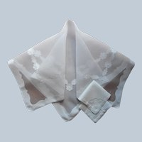 Madeira Organdy Tea Tablecloth White Appliqued Linen Vintage 2 Napkins