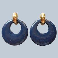 1980s Earrings Pierced Dark Blue Doorknocker Plastic Vintage Gold Tone
