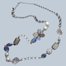 Chicos Chico's Necklace Gunmetal Faux Pearls Blue Opalescent 35 39 Inches