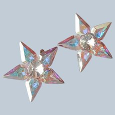 Pair Pins Brilliant AB Opalescent Crystal Star Pin Vintage Scatter