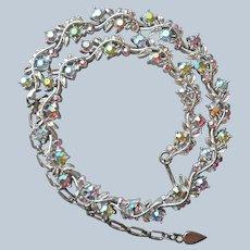 Ice Blue Pink AB Rhinestone Choker Necklace Silver Tone Vintage