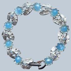 Judy Lee Baby Blue Moonglow AB Stones Bracelet Silver Tone Vintage